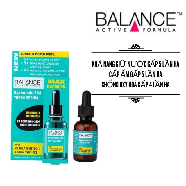 Tinh Chất Dưỡng Da Balance Active Formula Hyaluronic 554 Youth Serum – 30ml
