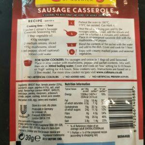 Colman's Sausage Casserole