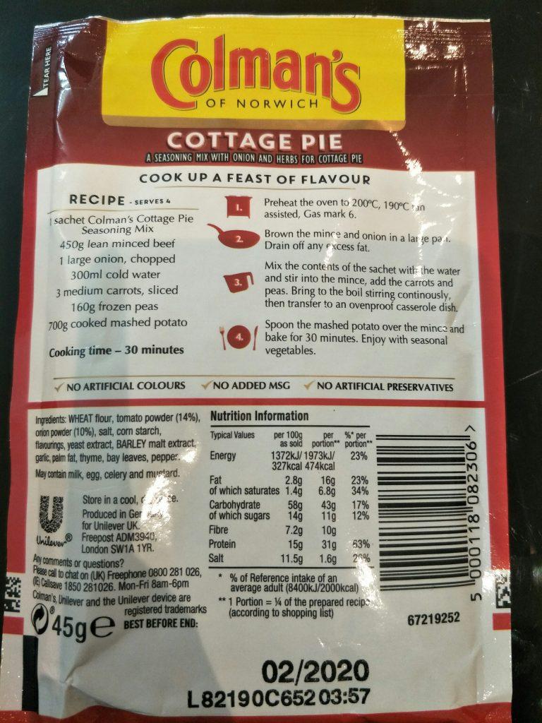 Colman's Cottage Pie