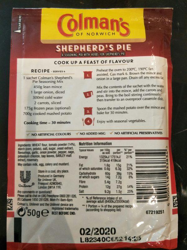 Colman's Shepherd's Pie