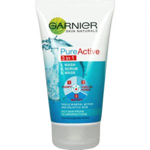 Garnier Pure Active Cleanser 3 In 1 Wash, Scrub, Mask 150Ml